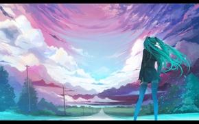 Картинка дорога, небо, столбы, провода, перспектива, спина, чулки, стоит, vocaloid, Hatsune Miku, длинные волосы