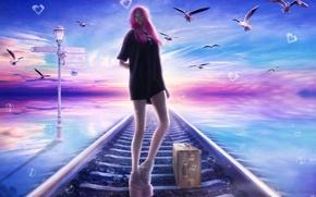 Обои рельсы, небо, железная дорога, девушка, птицы, чемодан, ножки, пузыри