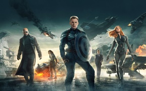 Обои 2014, Scarlett Johansson, Natasha Romanoff, Chris Evans, Captain America The Winter Soldier, Marvel, Nick Fury, ...