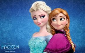 Картинка мультфильм, Frozen, Disney, Анна, Anna, сёстры, принцессы, Princess, sisters, Elsa, Эльза, Snow Queen, Холодное сердце