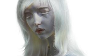 Обои девушка, губы, арт, альбинос, лицо, белая, волосы