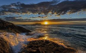 Картинка облака, закат, океан, побережье, Австралия, Pacific Ocean, Australia, Тихий океан, New South Wales, Новый Южный ...