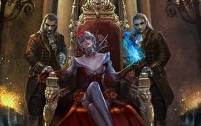 Картинка украшения, замок, волшебство, магия, колонны, вампиры, красное платье, Королева, рисовка, трон, стиль фентази, двое мужчин, …