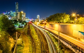 Картинка ночь, небоскребы, выдержка, Австралия, фонари, железная дорога, night, Australia, Brisbane, Roads