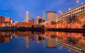 Картинка мост, огни, отражение, дома, США, Кливленд, штат Огайо
