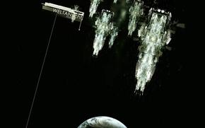 Обои космос, планета, корабли