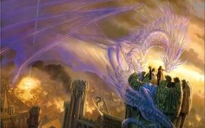 Картинка дракон, башня, магия, дух, люди, город, огонь