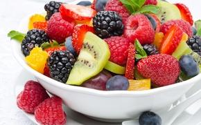 Обои ягоды, малина, киви, клубника, фрукты, десерт, ежевика, strawberry, fruits, dessert, berries, raspberry, kiwi, strawberries, фруктовый ...