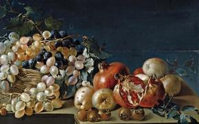 Картинка еда, картина, Jose Ferrer, Натюрморт с виноградом и гранатами
