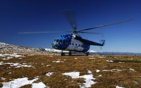 Картинка поле, небо, трава, снег, вертолет, российский, Ми-8, советский