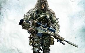 Картинка оружие, снайпер, камуфляж, PS3, Sniper: Ghost Warrior 2, CryEngine 3, Wii U, Xbox360, Holdings City …