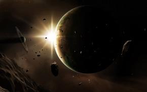 Обои космос, свет, сияние, планеты, астероиды, тела, метеориты, космические