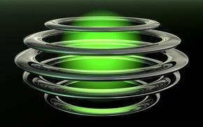 Обои круги, шар, свечение, черный фон, зеленое