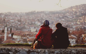 Картинка sunset, couple, cityscape, enjoying, Sarajevo