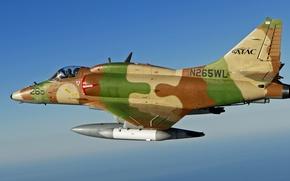 Картинка полет, штурмовик, палубный, лёгкий, A-4 Skyhawk, Дуглас A-4, «Скайхок»