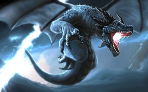 Картинка шторм, молния, крылья, дракон, гроза, хвост, клыки, рога