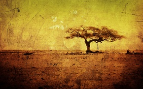 Картинка деревья, жёлтый, дерево, рисунок, жара, минимализм, текстура, грязь, арт, рисунки, африка, текстуры, жёлтые