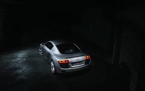 Картинка Audi, Dark, Supercar, Silver, Rear, Ligth, Motor