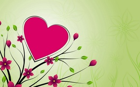 Картинка цветы, фон, сердце, Обои
