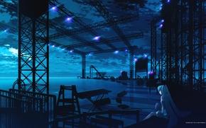 Картинка синий, сцена, девочка, vocaloid