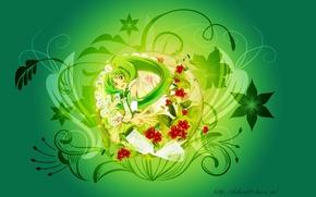 Картинка цветы, аниме, девочка, кружево, бантитик