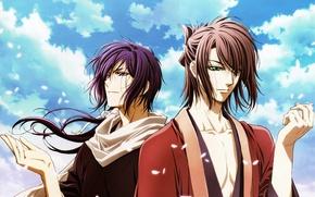 Картинка небо, облака, ветер, лепестки, сакура, парни, самураи, Hakuouki, Okita Souji, Saitou Hajime, демоны бледной сакуры, …
