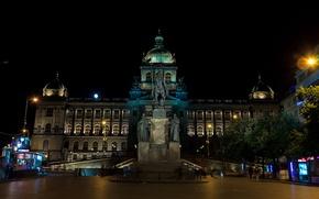 Картинка ночь, Прага, Чехия, памятник, дворец