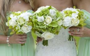 Картинка цветы, девушки, girls, подруги, flowers, friends, букеты, bouquets