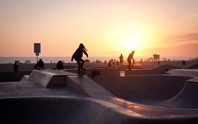 Картинка summer, california, sunset, usa, los angeles, skater, venice beach