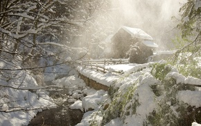 Обои волшебство, домик, снег, зима, снежинки, метель