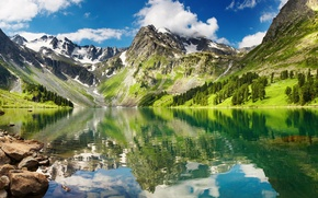 Картинка небо, облака, снег, горы, озеро, отражение, белые, прозрачное, Beautiful greenlands, hyaline lake, высокие