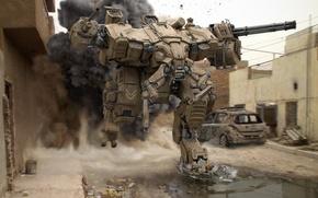 Картинка будущее, война, улица, дым, робот, лужи, развалены