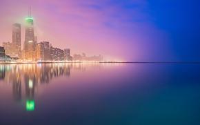 Обои Чикаго, Skyscrapers, Night Lights, Chicago, город, огни, экспозиция, Buildings, Lake