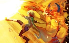 Картинка магия, удар, парень, чудовище, art, nanaya, ifrit, pascal, tales of graces