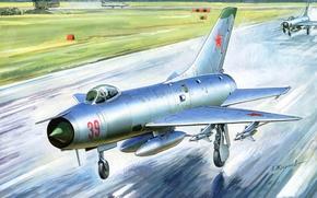 Картинка самолет, истребитель, арт, как, первый, всепогодный, созданный, советский, составная, перехватчик, мире, крылом, единого, отечественный, Су-9, ...