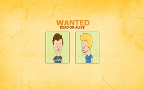 Обои минимализм, Бивис и Баттхед, прикол, Wanted Dead Or Alive, Beavis and Butt-head, надпись