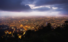 Картинка ночь, Night, Bogota, Monserrate, Colombia, Колумбия, Богота