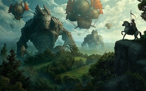 Обои конь, корабли, арт, туман, Kerem Beyit, всадник, скала, летучие, гиганты