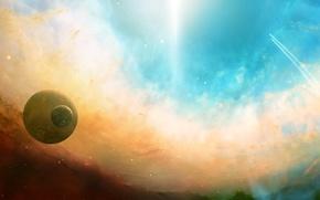 Обои space, планеты, свет, сияние, dual monitor, Космос, полет, траектория, звезды, туманность