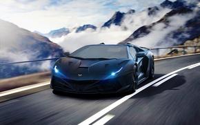 Картинка Lamborghini, Speed, Front, Tuning, Aventador, Road, Supercar, Fog, Hyper