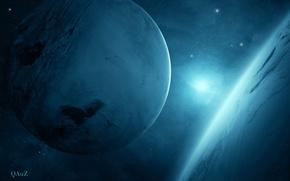 Картинка light, two, Sci Fi, Planet blue