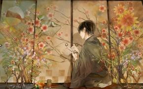 Обои цветы, птицы, аниме, иероглифы, парень, кимоно, закладка, терадь