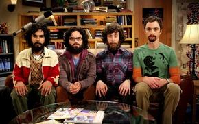 Картинка диван, борода, актеры, The Big Bang Theory