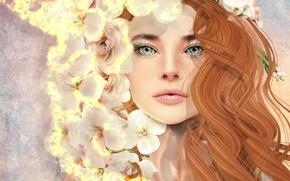 Картинка девушка, цветы, лицо, волосы