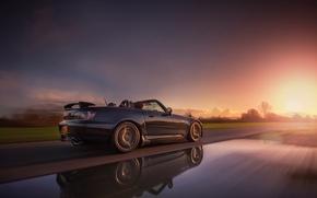 Картинка дорога, car, машина, солнце, закат, отражение, фон, движение, widescreen, обои, скорость, трасса, размытие, wallpaper, Honda, ...