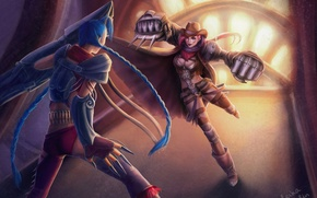 Картинка девушки, бой, арт, когти, косички, League of Legends, LoL, Jinx