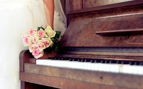 Картинка розы, букет, платье, пианино, свадьба