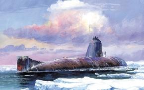 Картинка небо, вода, облака, лодка, арт, льды, СССР, подводная, submarine, К-3, Ленинский, комсомол