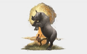 Картинка рисунок, мужик, гитара, юмор, носорог, трава, взрыв
