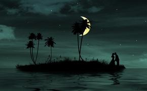 Обои любовь, луна, романтика, вместе